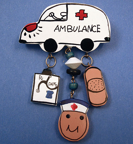 Ambulance Decorated Wood Pin