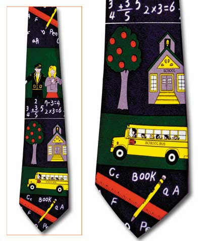 All School Theme Classic Novel Necktie