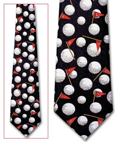 Golf Motif Classic Novel Necktie